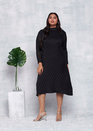 Chevron Pleated Sheer Sleeved Tunic Dress - Black