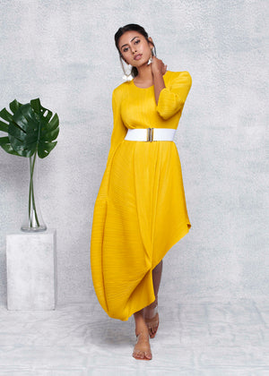 Laila Drape Dress - Yellow