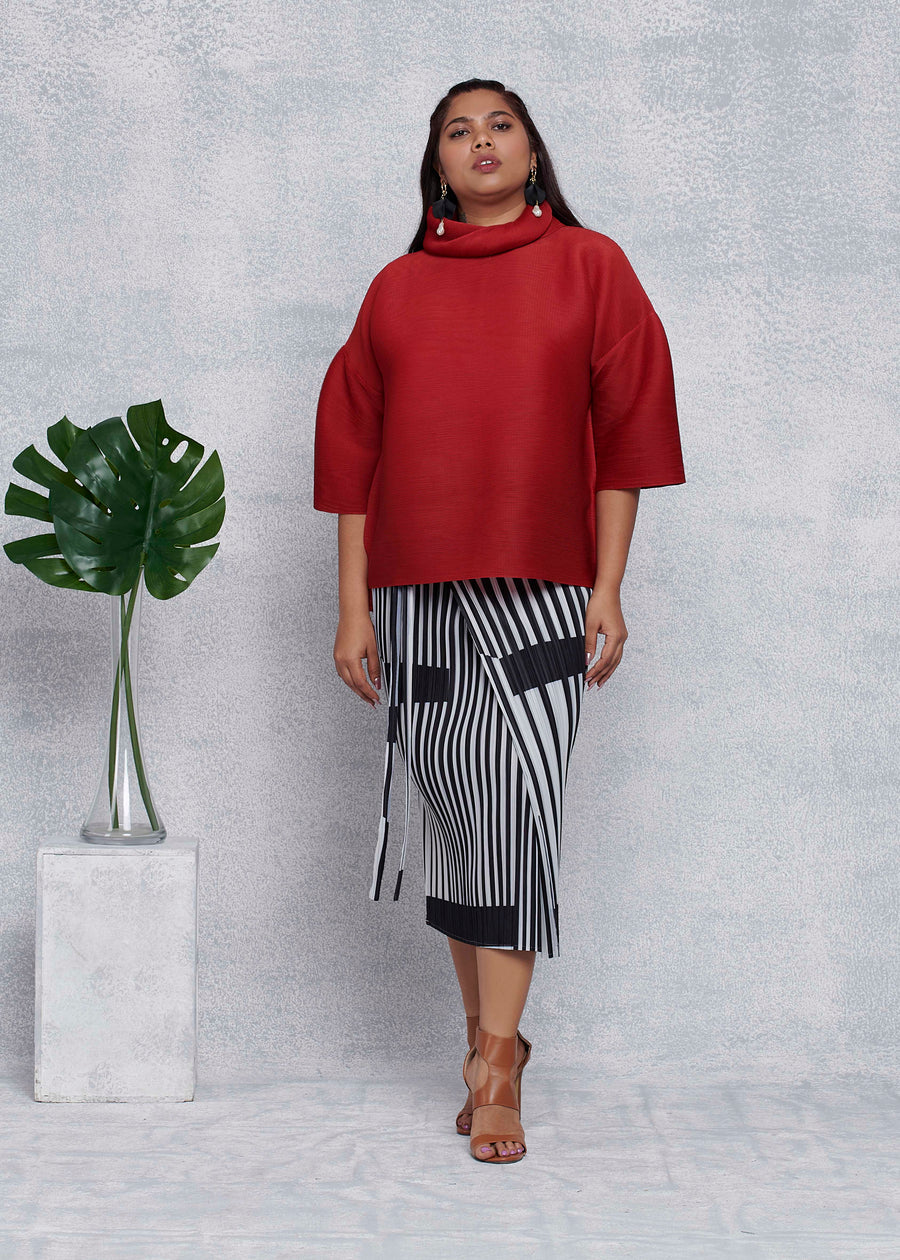 Turtleneck Box Sleeve Top - Dark Red