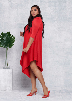 Laila Drape Dress - Red