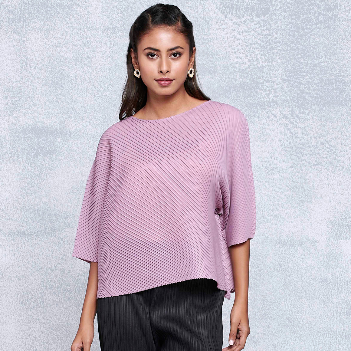 Diagonal Pleat Mid Sleeve Top - Mauve