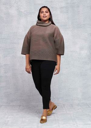 Turtleneck Box Sleeve Top - Dark Taupe