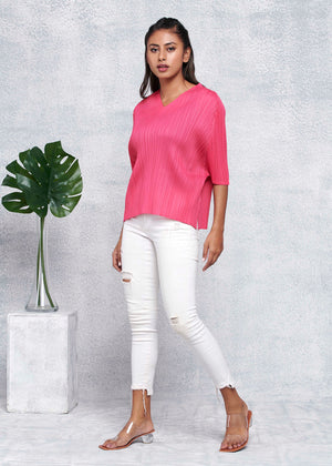 V Neck Short Sleeve Top - Light Pink