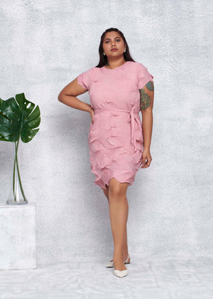 3D Belted Gia Dress - Pink