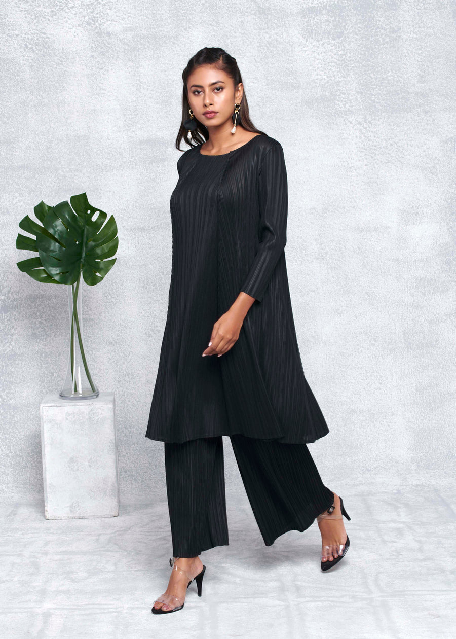 A Line Long Sleeve Tunic Set - Black