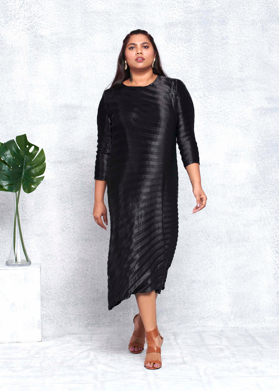 Satin Chevron Tunic Dress - Black