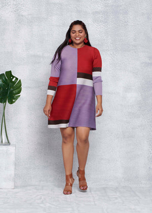 Colourblock A Line Dress - Red Lavender