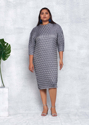 3D Rhomboid Dress - Steel Grey