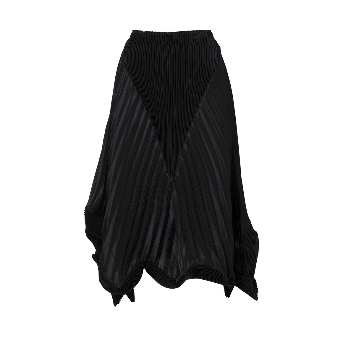 Pleated Structured Satin Skirt - Black