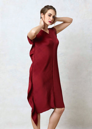Side Ruffle Dress - Maroon