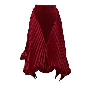 Pleated Structured Satin Skirt - Maroon