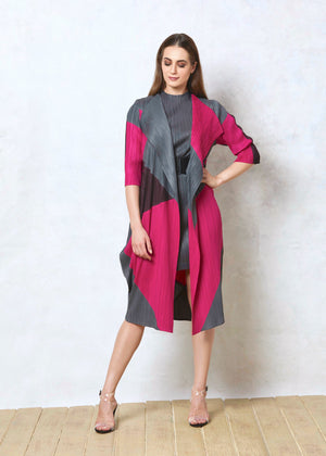Drape Colourblock Overlay - Grey and Hot Pink