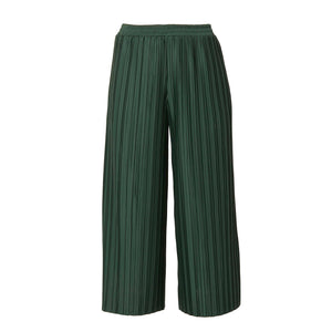 Riley Narrow Pleats Straight Pants - Moss Green