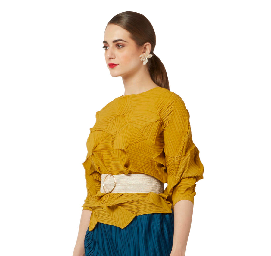 3Dimensional Pleated Top Ochre
