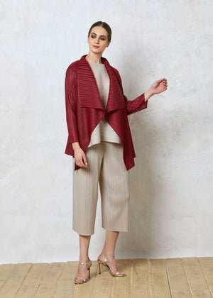 Pleated Mid-length Overlay - Maroon