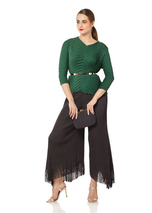 Fringed Pants - Charcoal