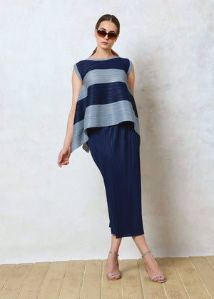 The Striped Asymetrical Top - Grey & Navy