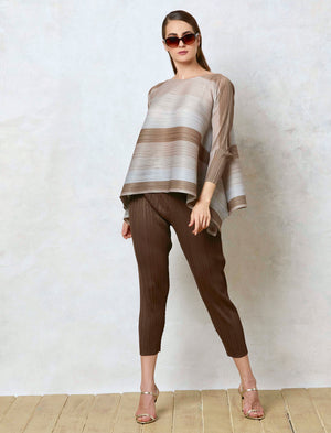Long Sleeves Striped Top - Shades of Green