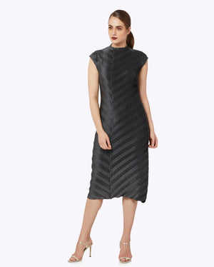 Satin Chevron Dress - Steel Grey