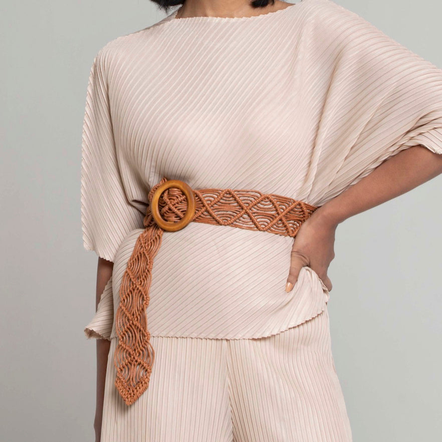 Cord Braided Belt with Wood Ring - Tan