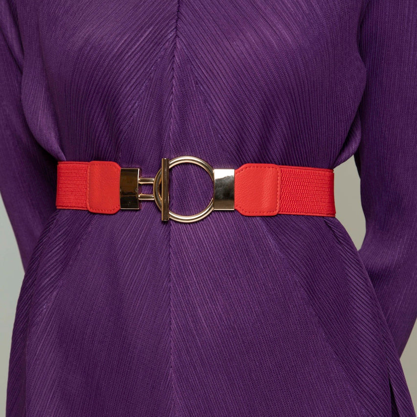 Ring Clasp Elastic Belt - Red