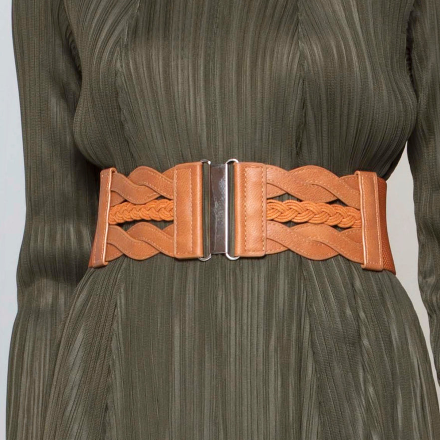 Braided Metal Clasp Belt - Tan