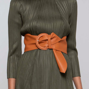 Soft Faux Leather Belt - Tan