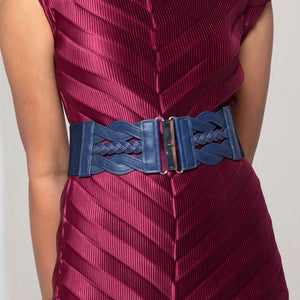 Braided Metal Clasp Belt - Navy