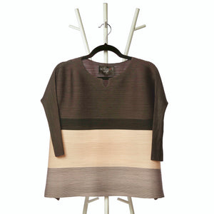 Striped Colourblock 3/4th sleeve Top - Brown