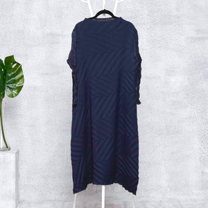 Chevron Pleated Sheer Sleeved Tunic Dress - Navy