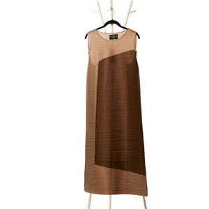 2 Tone Square Dress - Taupe & Brown
