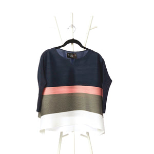 Striped Colourblock 3/4th sleeve Top - Navy