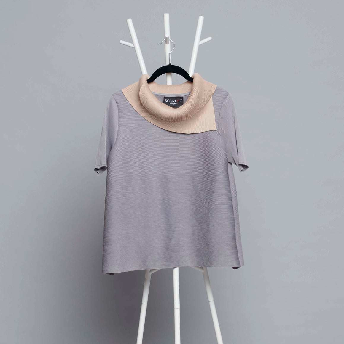 Dual Colour Turtleneck Top - Light Grey & Sand