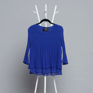 Layered Pleated Sheer Top - Royal Blue