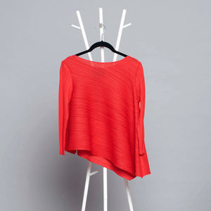 3/4 th Sleeve Asymmetrical Pleated Top - Red