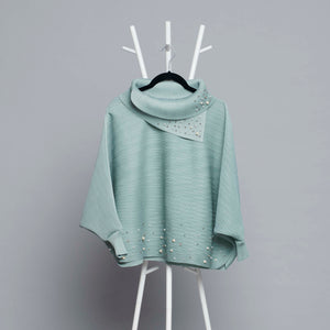 Batwing Pearled Turtleneck Top - Sage Green