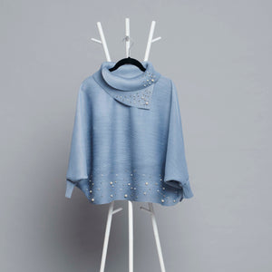 Batwing Pearled Turtleneck Top - Pale Blue