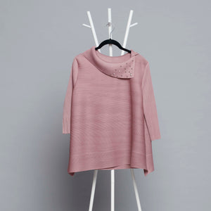 3/4th Sleeve Pearled Collar - Ash Pink