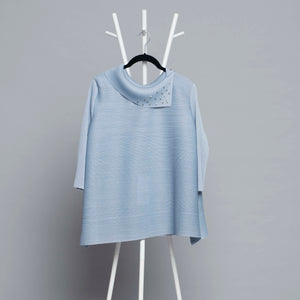 3/4th Sleeve Pearled Collar - Ice Blue