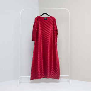 Satin Chevron Tunic Dress - Dark Red