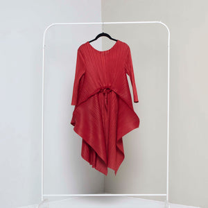 Long Handkerchief Tie Front Tunic - Rust Red