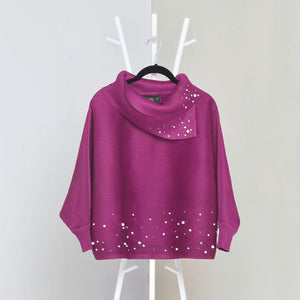 Batwing Pearled Turtle Neck Top - Magenta