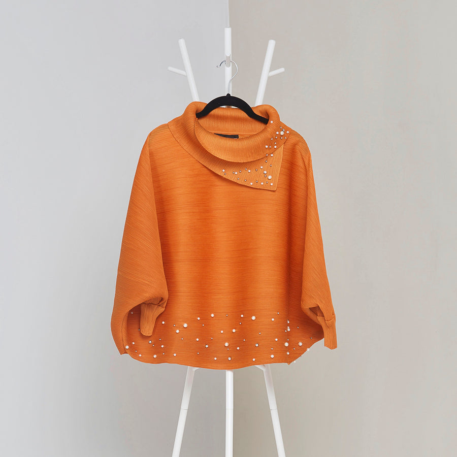 The Batwing Pearled Turtle Neck - Orange
