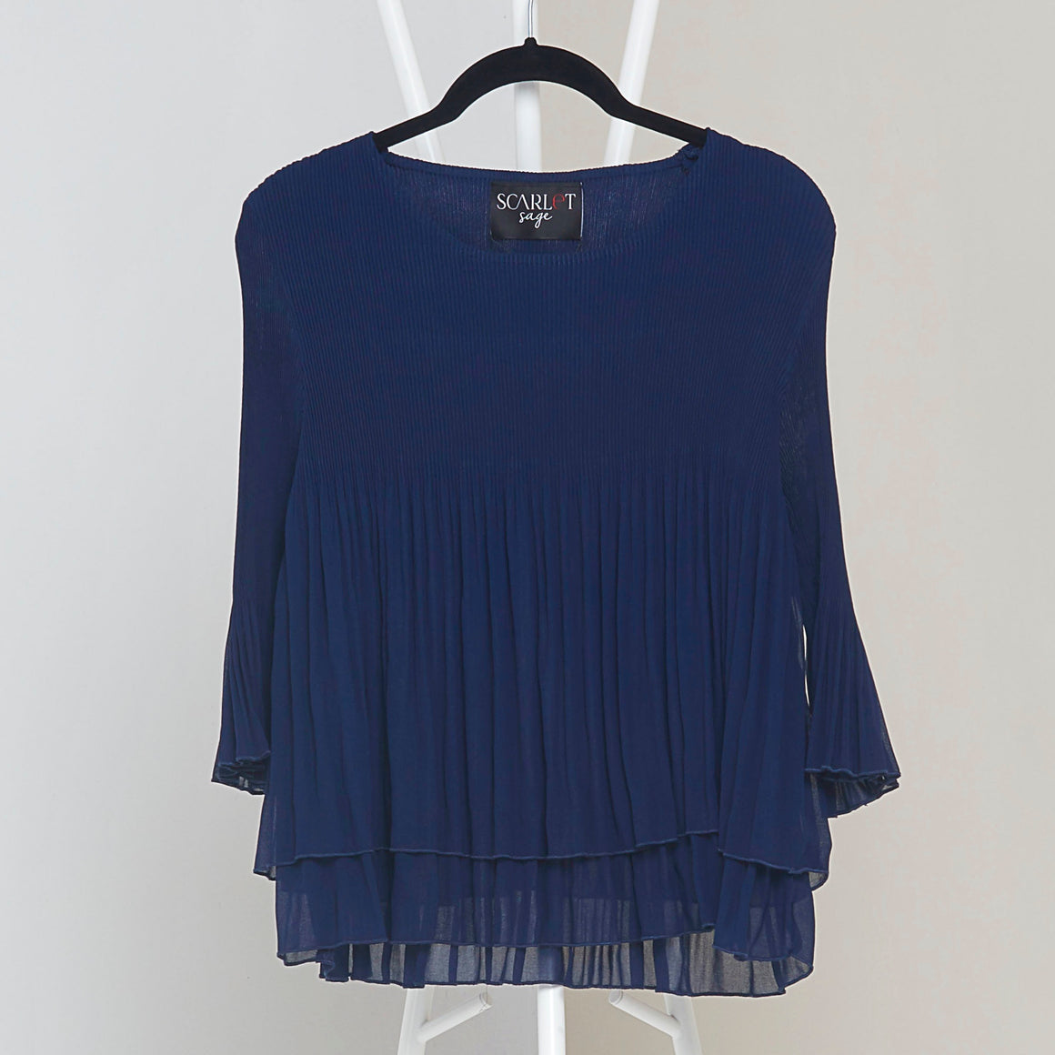 Layered Pleated Sheer Top  - Navy Blue