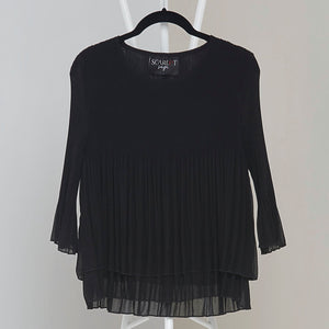 Layered Pleated Sheer Top - Black