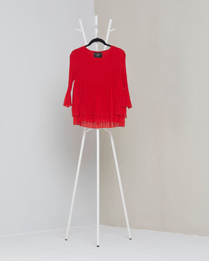 Layered Pleated Sheer Top - Red