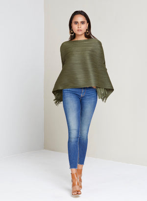 Flared 3/4 th Sleeve Hi Low Fringed Short Top - Olive Green