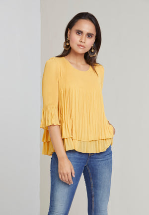 Layered Pleated Sheer Top - Yellow