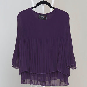 Layered Pleated Sheer Top - Purple