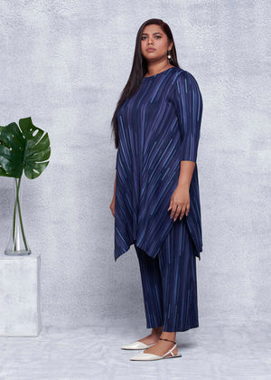 Tonal Striped Long Tunic Co-ord Set - Navy